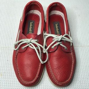 Timberlands Red Leather Boat Shoes Women's 7